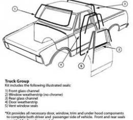Chevy Or GMC Truck, Complete Weatherstrip Kit, Standard, For Trucks Without Chrome Window Moldings, 1981-1987