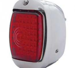 Chevy Truck LED Taillight Assembly, With Red Lens & Chrome Housing, Right, 1940-1953