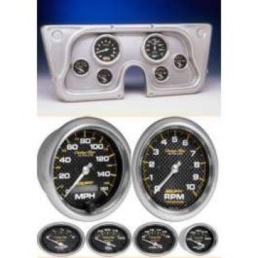 Chevy Truck Instrument Cluster, Brushed Aluminum, With Carbon Fiber Autometer Gauges, 1967-1972