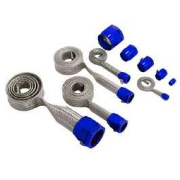 Chevy & GMC Truck Universal Hose Cover Kit, Stainless Steel With Blue Clamps