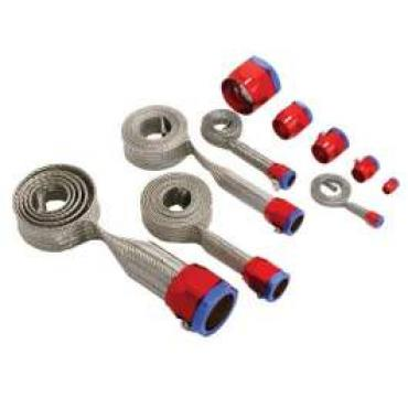 Chevy & GMC Truck Universal Hose Cover Kit, Stainless Steel With Red And Blue Clamps
