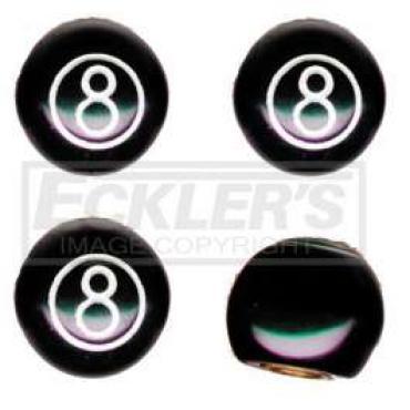 Chevelle Valve Stem Caps, 8 Ball, Black, 1964-1983