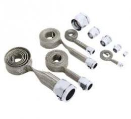 Chevelle Hose Cover Kit, Stainless Steel, Universal, With Stainless Steel Clamps