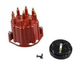 Chevelle & Malibu Distributor Cap & Rotor, Red, With Male Terminals, For Billet Flame-Thrower Distributor, PerTronix, 1964-1983