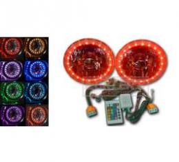 Chevelle Headlight, 5 3/4 Inch Round Elite Diamond With Multi Color LED Halo, 1964-1970
