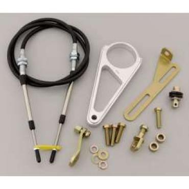Chevelle Shift Cable Linkage, Automatic Transmission, 2-1/4 Aftermarket Steering Column, 72 Long, Lokar, 1964-1972