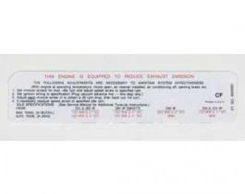 Chevelle Decal, Emission (255/300/290/350/370hp), 1969