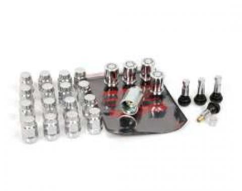 Corvette Chrome Wheel Lugnut, Locks, & Valve Stem Kit, 1984-2013