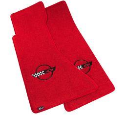 Corvette Mats, Red with Black Applique, 1991-1995