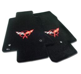 Corvette Mats, Black with Red Applique, 1997-2004