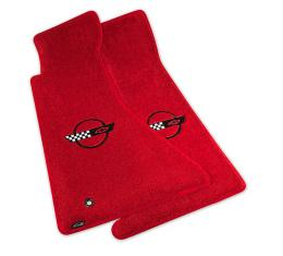 Corvette Mats, Red with Black Applique, 1996