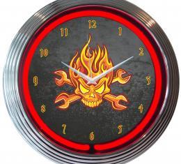 Neonetics Neon Clocks, Mechanic Fire Skull and Wrenches Neon Clock