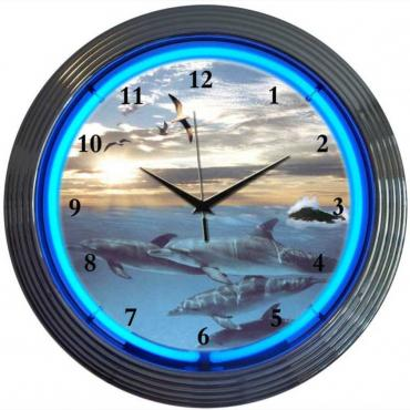 Neonetics Neon Clocks, Dolphins at Sea Neon Clock