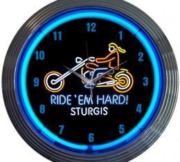 Neonetics Neon Clocks, Motorcycle Ride Em Hard Sturgis Neon Clock