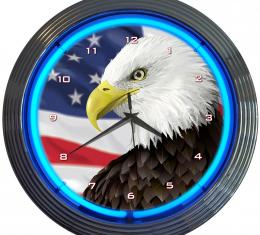 Neonetics Neon Clocks, Eagle with American Flag Neon Clock