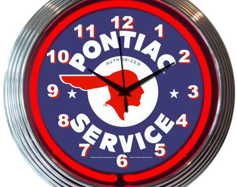 Neonetics Neon Clocks, Gm Pontiac Service Neon Clock