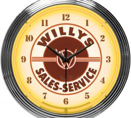 Neonetics Neon Clocks, Jeep Willys Sales Service Neon Clock