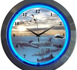 Neonetics Neon Clocks, Dolphins at Sea Neon Clock