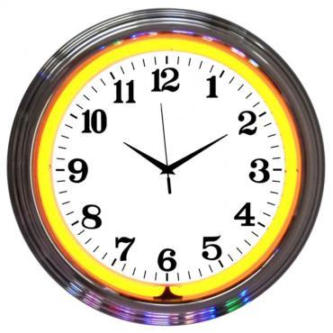 Neonetics Neon Clocks, Chrome Orange Standard Neon Clock