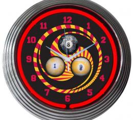 Neonetics Neon Clocks, Billiards 1, 8, 9 Neon Clock