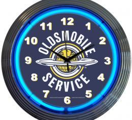 Neonetics Neon Clocks, Gm Oldsmobile Service Neon Clock