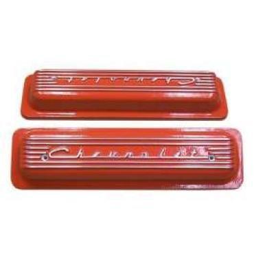 El Camino Valve Covers, Classic-Style, Aluminum, Orange, 1959-1987