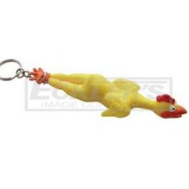 Rubber Chicken Key Chain, With Chrome Plated Chain