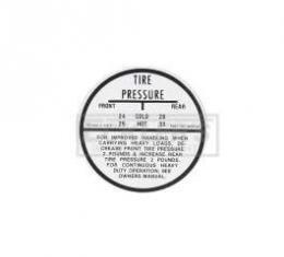 El Camino Tire Pressure Decal, 1959-1960