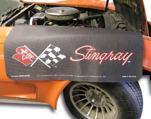 Fender Gripper® Cover, Black with Corvette C3 Stingray Logo
