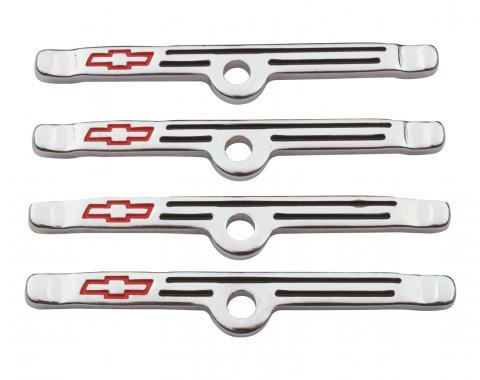 Proform Engine Valve Cover Holdown Clamps, Chrome with Red Bowtie Logo, SB Chevy, 4 Pcs 141-903