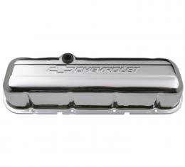 Proform Engine Valve Covers, Stamped Steel, Tall, Chrome, w/ Bowtie Logo, Fits BB Chevy 141-115