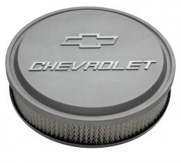 """Proform 14"""" Air Cleaner Kit, Aluminum, Gray Crinkle, Raised Chevy and Bowtie Emblems 141-832"""