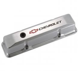 Proform Engine Valve Covers, Tall Style, Die Cast, Polished with Bowtie Logo, SB Chevy 141-108