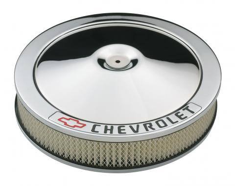 Proform Carburetor Air Cleaner Kit, 14 Inch Diameter, 'Chevrolet' Lettering, Chrome 141-906