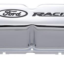Proform Engine Valve Covers, Tall Style, Steel, Chrome with Ford Logo, For SB Ford 302-071