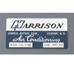 Camaro Air Conditioning Evaporator Box Decal, Harrison, 1971