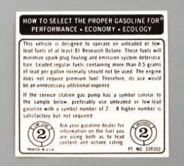 Camaro Decal, Fuel Recommendation, 1973-1974