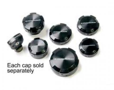 Camaro Master Cylinder Cap, Black Billet Aluminum, With Camaro Name, 2010-2013
