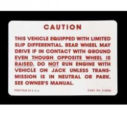Camaro Posi-Traction Warning Trunk Decal, 1970