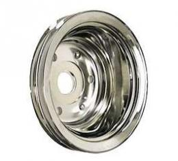 Camaro Crankshaft Pulley, Small Block, Double Groove, Chrome, 1969