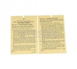 Camaro Cruise Control Instructions Tag, 1970-1974
