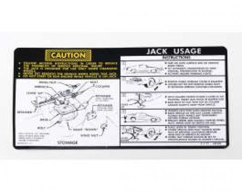 Camaro Jacking Instructions Decal, With Regular Tire Spare,1978-1979