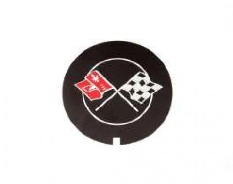 Camaro Valve Cover Crossed Flag Emblem, Z28, Finned Aluminum, GM, 1969-1974
