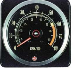Camaro Tachometer, 6000 RPM Redline, 1969Late