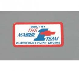 Camaro Valve Cover Decal, Number 1 Team Flint, 302ci & 327/275hp, 1967