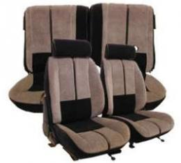 Camaro Seat Cover Set, Front & Rear, Velour, For Cars With Deluxe Interior & Rear Split Seat, 1988-1992