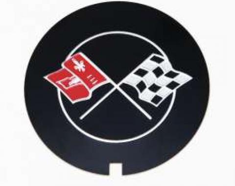 Camaro Valve Cover Crossed Flag Emblem, Z28, Finned Aluminum, GM, 1970-1973