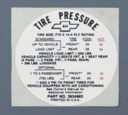 Camaro Tire Pressure Decal, SS, Glove Box Door, 1968