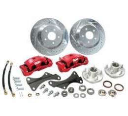 Camaro Disc Big Brake Conversion Kit, Front, Red Calipers, For Stock Spindle, 1967-1969