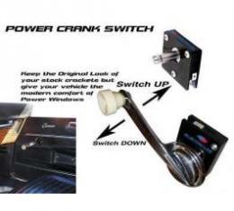 Camaro Power Window Switch, Crank Handle, 2-1/8 Deep Shaft